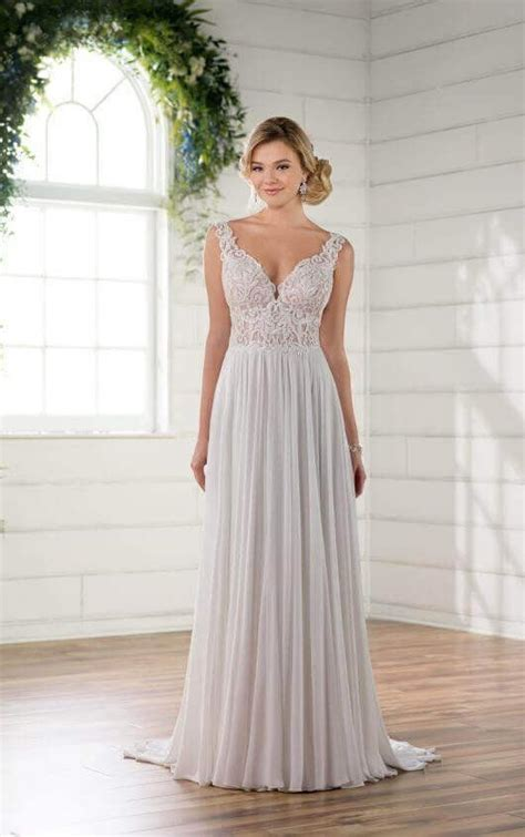 beach boho chiffon wedding gown essense  australia