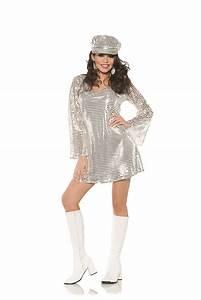 Silver Go Go Disco 70S Mini Womens Adult Halloween Costume ...