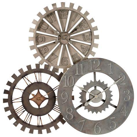horloge triple en metal   cm rouages maisons du monde