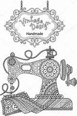 Sewing Coloring Machine Vector Flowers Decorative Ornaments Mandala Colouring Illustration Adults Silhouette Machines Tpr Depositphotos Abstract Template Meditation Artwork sketch template