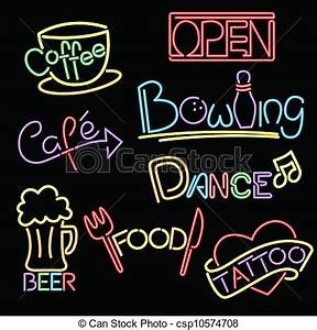 Vector Clipart of Neon signs A vector illustration of a