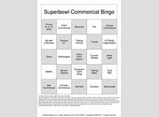 2013 Superbowl Commercials Bingo Cards to Download, Print