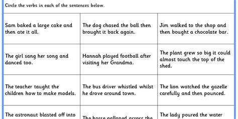 identifying verbs ks1 spag test practice classroom secrets