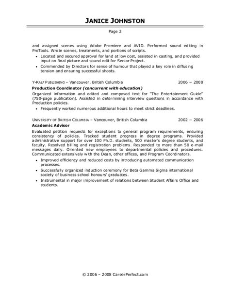 Television Production Resume by Careerperfect 174 Resume Writing Help Sle Resumes