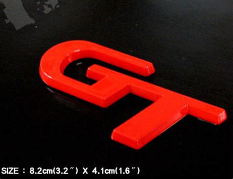 gt logo red tuning emblem  universal vehicles mid