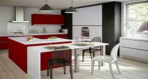 Idee deco de cuisine rouge moderne et design for Idee deco cuisine avec design cuisine