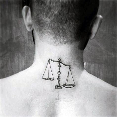 libra tattoos  men balanced scale ink design ideas