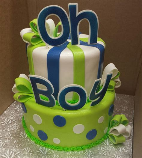 Baby Shower Blue And Green Decorations - calumet bakery oh boy green and blue baby shower two tier