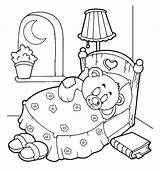 Coloring Night Pages Sleep Sleeping Bear Teddy Starry Bed Tight Drawing Colorluna Getdrawings Template Cave Printable Getcolorings Little Sheets Luna sketch template