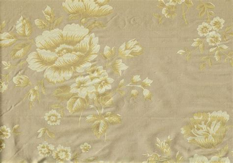 Designer Fabric Gold Tone On Tone Silk Floral Drapery