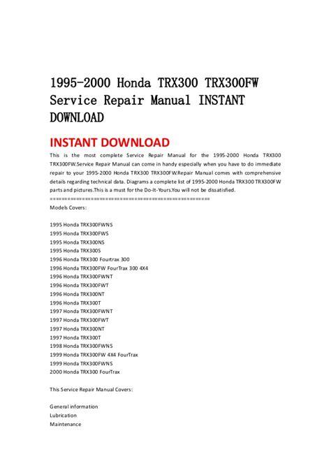 how to download repair manuals 1995 honda del sol on board diagnostic system 1995 2000 honda trx300 trx300 fw service repair manual instant downlo