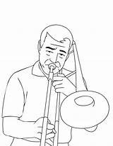 Trombone Coloring Pages Music Trumpet Playing Instruments Musical Disney Brass Characters Player Trombonist sketch template