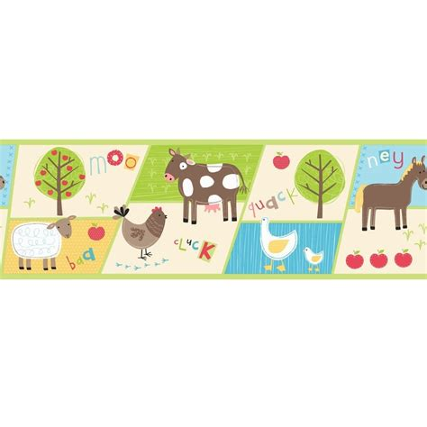 Farm Animal Wallpaper Border - buy decor farm animals hoopla wallpaper border multi