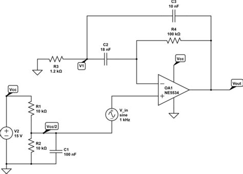 Operational Amplifier Single Ended Active Bandpass