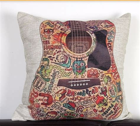vintage funky guitar linen cushion cover decoraive