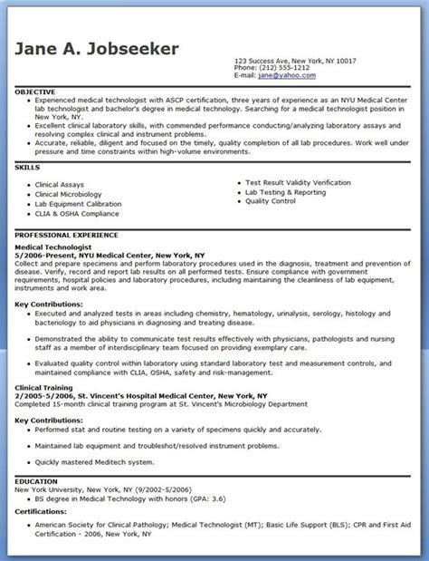medical technologist resume  creative resume