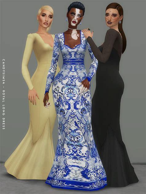 royal long dress  candy sims  sims  downloads