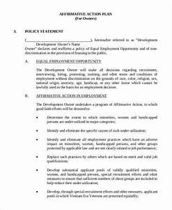 affirmative action plan federal affirmative action plan With affirmative action policy template