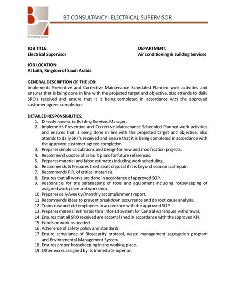 Resume Supervisor Description supervisor description for resume berathen