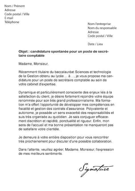 modele lettre de motivation secretaire comptable document