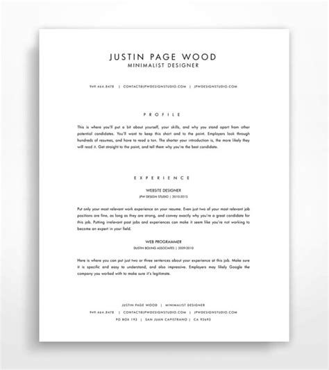 Minimalist Resume Font by Resume Template Instant Professional Resume