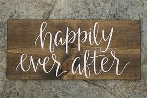 Happily ever after wood sign hand lettered by heartcraftedco for Hand lettered wooden signs