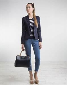 Outfit con blazer azul marino mujer u2013 Temporada de la moda Espau00f1ola 2018