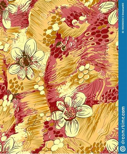 Pattern Seamless Drawn Leaves Fabric Floral Flowers