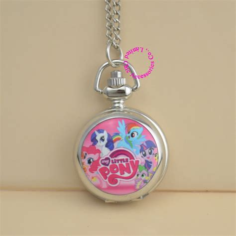 fashion picture rose pink cute my little horse pocket watch necklace silver women ladies girl