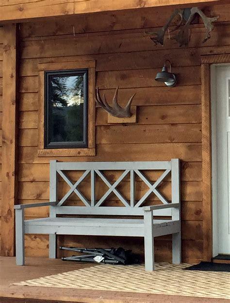 large porch bench alaska lake cabin ana white