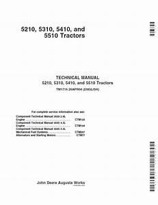 John Deere 5210 5310 5410 5510 Tractor Technical Manual Tm