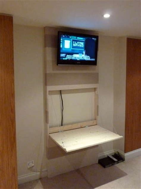 tv wall mount desk hidden pc  images wall