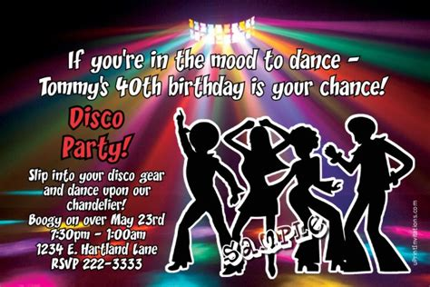 disco dancing fever birthday invitations