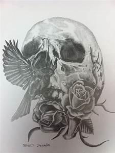 Tattoo Design- Pencil on paper - A4 - Skull/bird/roses ...
