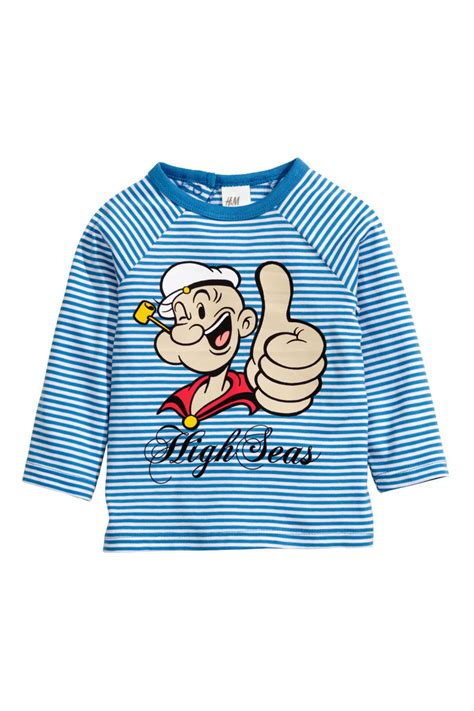 out of the blue sleeved t shirt blue popeye sale h m us