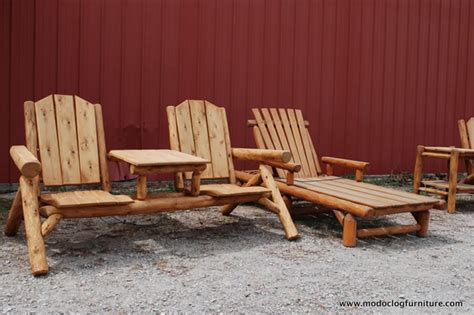 cedar outdoor log furniture tables chairs