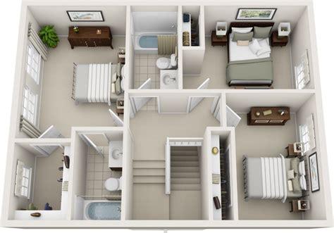 Three Bedroom Floor Plans  Charleston Hall Apartments