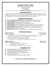 Exle Of Billing And Coding by Sle Resume For Office Manager Resume Cv Cover