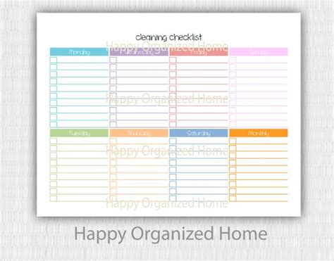 cleaning checklist templates  ms word excel