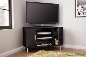 renta corner tv stand in pure black home furniture With house and home furniture tv stands