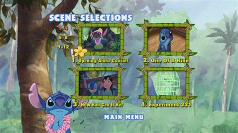Lilo and stitch is like toy story (1 and 2) and monsters inc. Stitch! The Movie (2002) - DVD Movie Menus