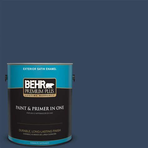 behr premium plus 1 gal mq5 54 compass blue satin enamel exterior paint and primer in one
