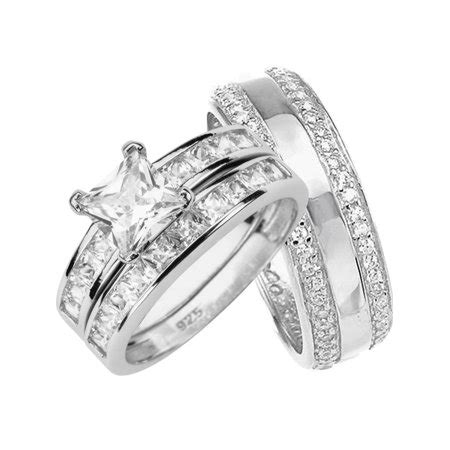 laraso co his and hers wedding rings sterling silver bands for him walmart
