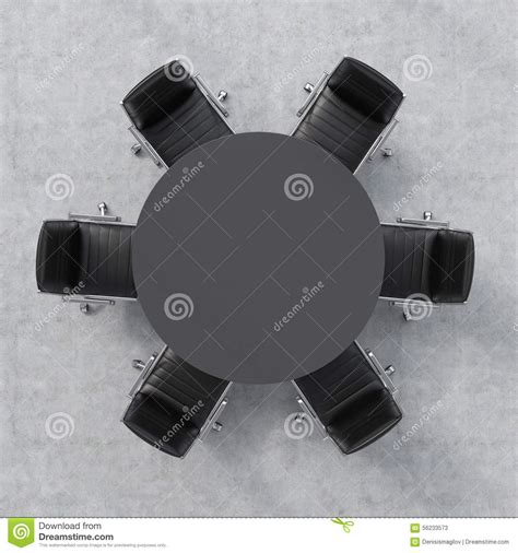 round conference table for 6 top view of a conference room a black round table and six