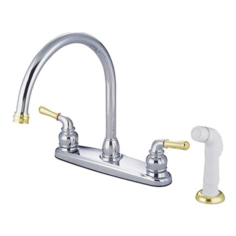 kitchen faucet types kingston brass kb794 twin lever handle c type 8 quot kitchen faucet with sprayer polished chrome