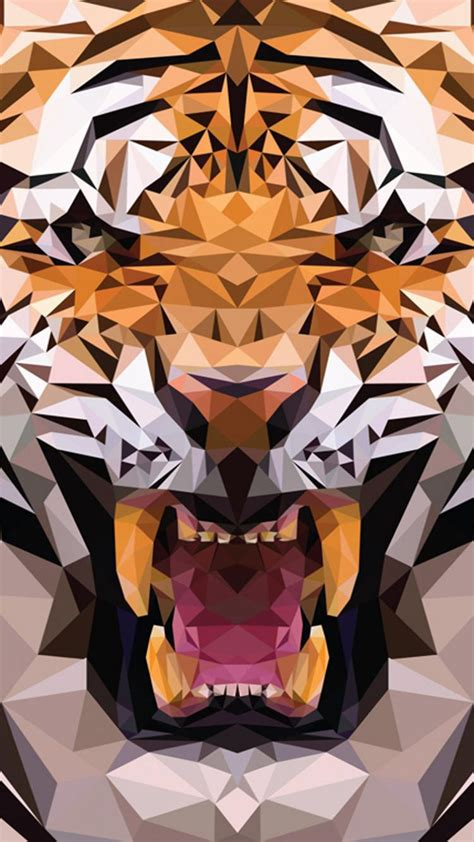 Polygon Animal Wallpaper - ios8 animals tiger polygon pattern iphone 6 plus
