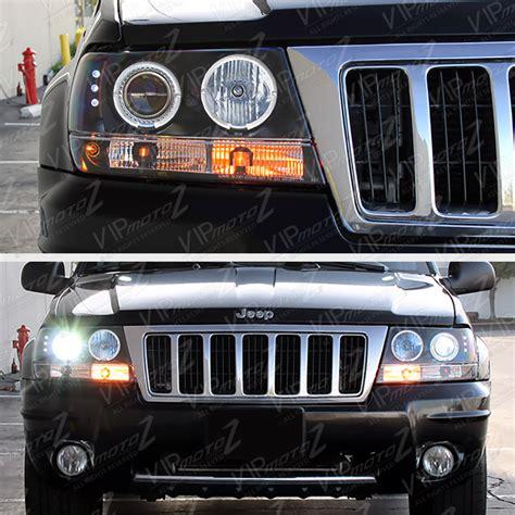 jeep black headlights 1999 2004 jeep grand cherokee wj wg black led halo angel