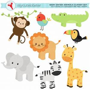 Baby Safari Animals Clipart Set - clip art set of monkey ...