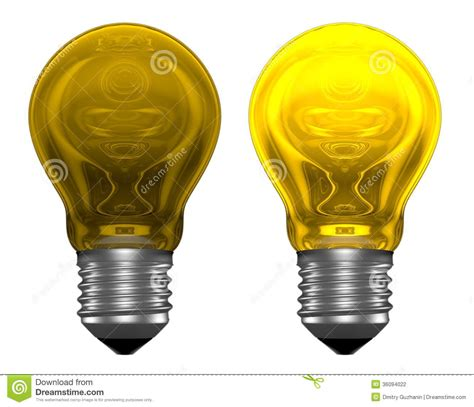 yellow light bulbs one glowing another not stock