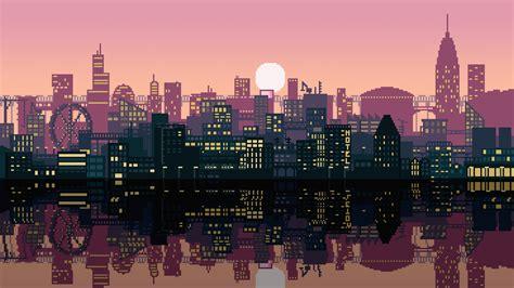 pixel art city xoc wallpapers